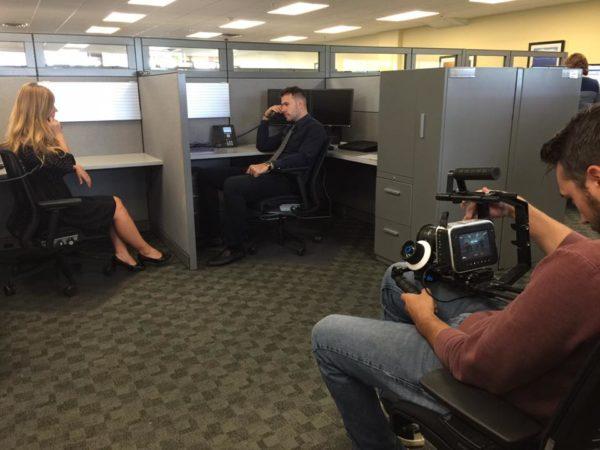 interns filming a video